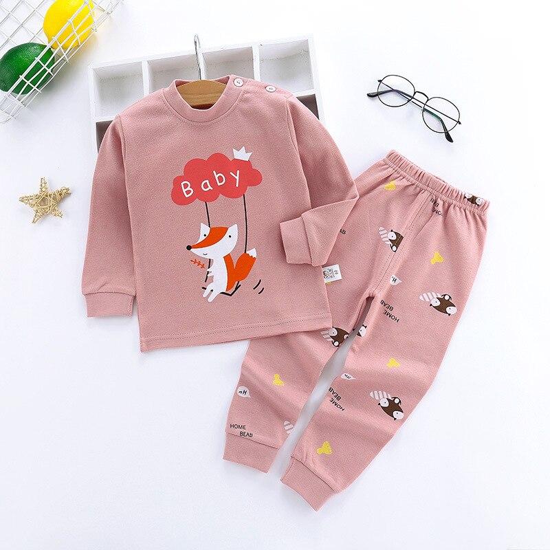 Crianças pijamas conjuntos meninos meninas do bebê algodão manga longa pijamas calças superiores dos desenhos animados crianças roupa da criança serviço de casa