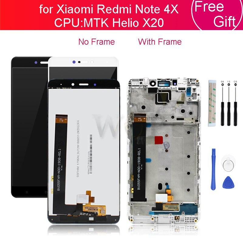 ل شاومي Redmi نوت 4X 4 جيجابايت MTK LCD عرض تعمل باللمس الزجاج لوحة محول الأرقام مع الإطار الجمعية نوت 4X برو إصلاح قطع الغيار