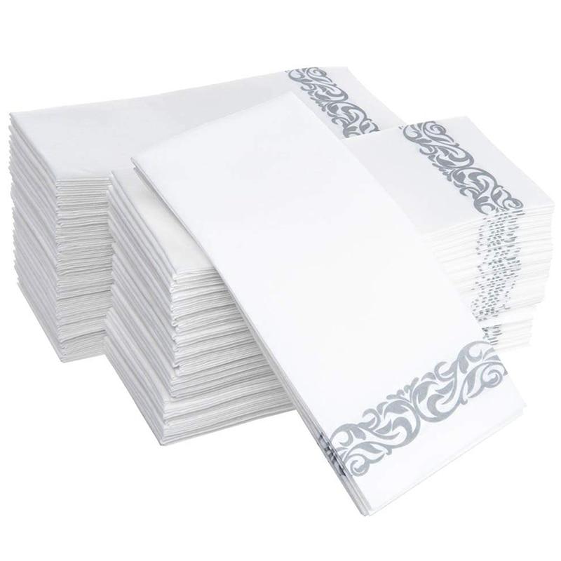 مناديل فوط للاستعمال مرة واحدة/زوار/حمامات/أعراس/ورق تنظيف ناعم وناعم/100 أبيض وفضي