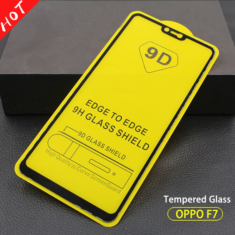 Cubierta de pegamento completo 9D vidrio templado OPPO F7 Protector de pantalla teléfono película para OPPO F5 F7 F9 A7 A5 A3 a71 K1 R15X La pegamento de vidrio