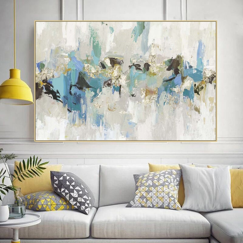 Gold Leaf Picture Art Hand Painted Modern Abstract Oil Painting On Canvas Wall Art For Living Room Home Decoration No Framed