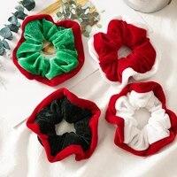 1pc fashion mixed color hair scrunchies woman flannel christmas intestine hair ring simple hair ties headwear hair accessories