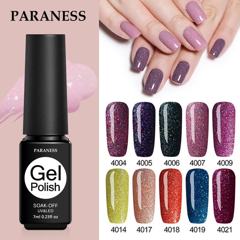 Paraness Nails Glitter UV Gel Nail Polish Soak Off Gellak Nail Art Esmalte Permanente Shiny Grey Purple Colors Paint Gel Varnish