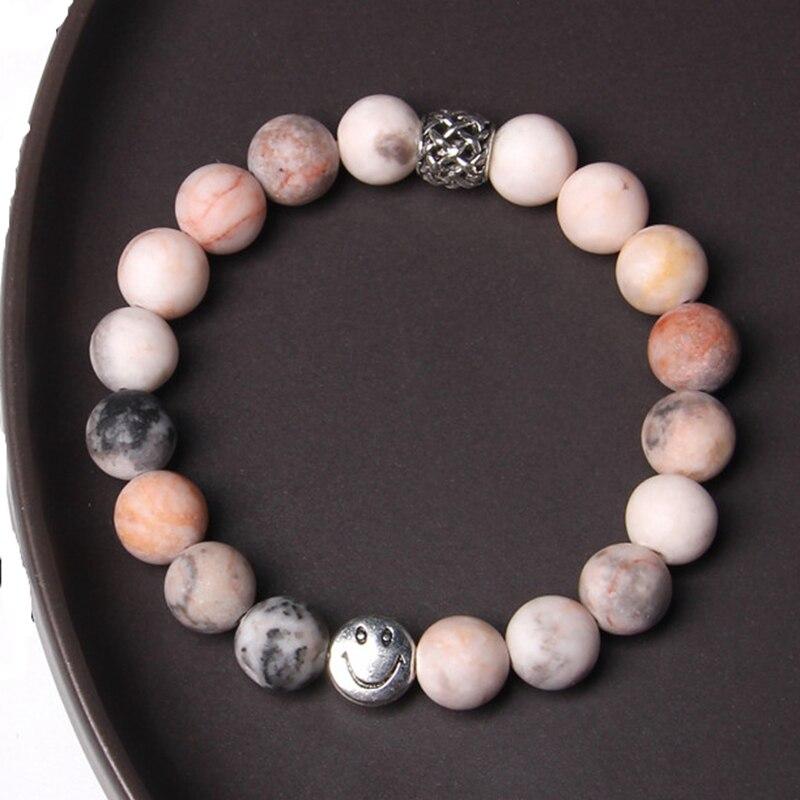 Pulsera de cuentas con cuentas de color plateado, cuentas de piedra Natural de 10mm, pulsera curativa, joyería para mujeres y hombres, regalos, dropshipping