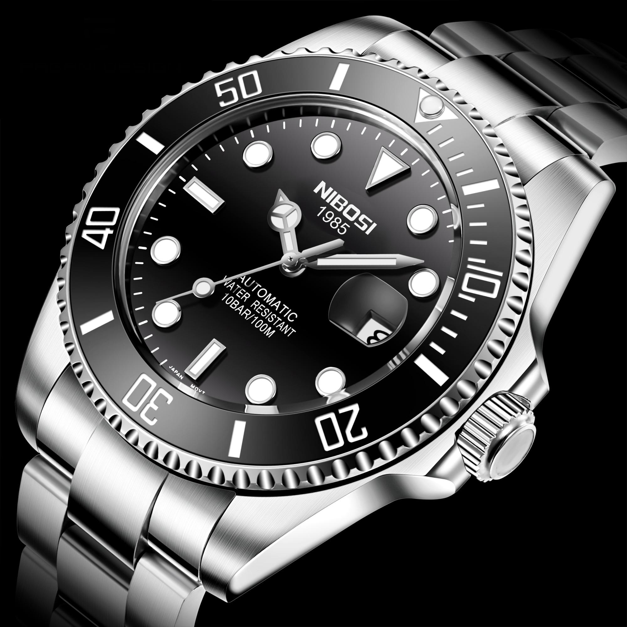 NIBOSI الرجال ساعة أوتوماتيكية الياقوت الفاخرة الميكانيكية ساعة اليد الفولاذ المقاوم للصدأ مقاوم للماء ساعة توربيون Relogio Masculino