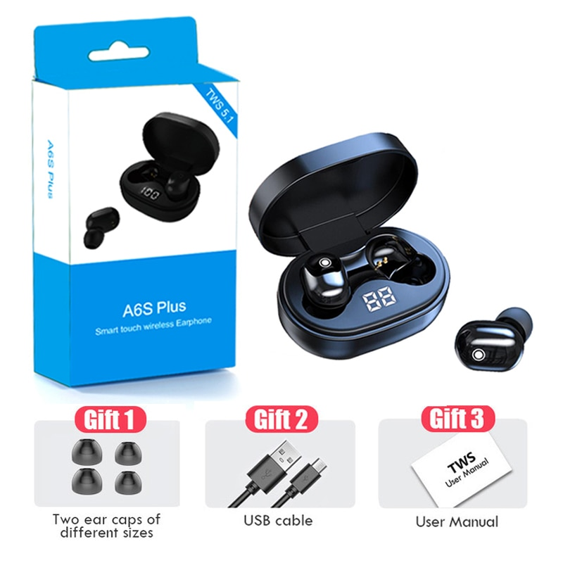 A6S Plus Wireless Bluetooth Earphones Stereo Headsets Sport Mini Headphones Noise Cancelling Earbuds for All Smart Phone Earbuds enlarge