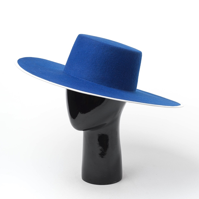 01908-HH8159 big brim winter autumn fashion   Pure  blue wool solid  fedoras  cap men women leisure panama jazz hat