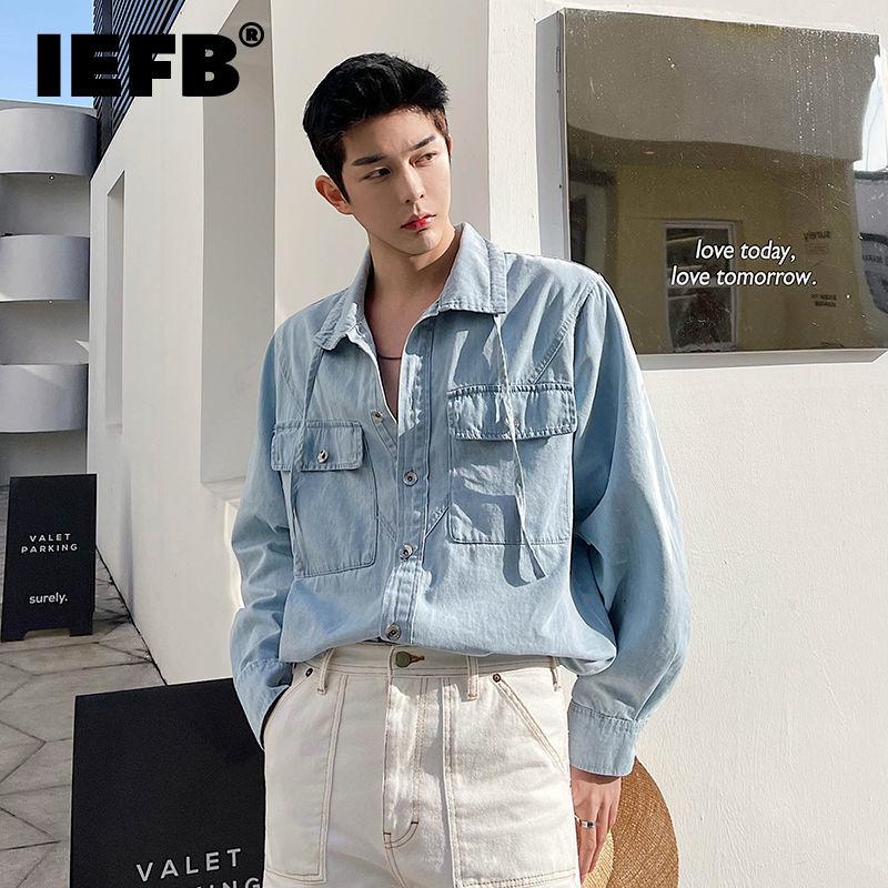 IEFB شيك تصميم الكورية فضفاض خمر قميص دينيم الدانتيل يصل التلبيب قمصان زرقاء خفيفة 2021 الخريف جديد واحدة الصدر القمم 9Y9169