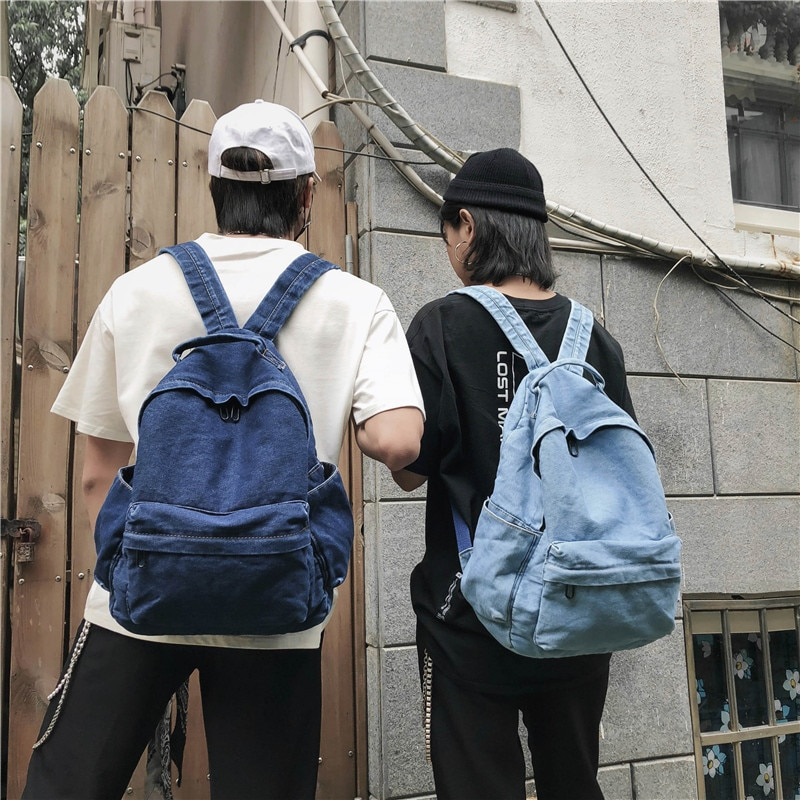 Denim Backpack Man Women School Bags for Teenager Large Capacity Casual Travel Backpack Solid Color Cute Bag 2020 New