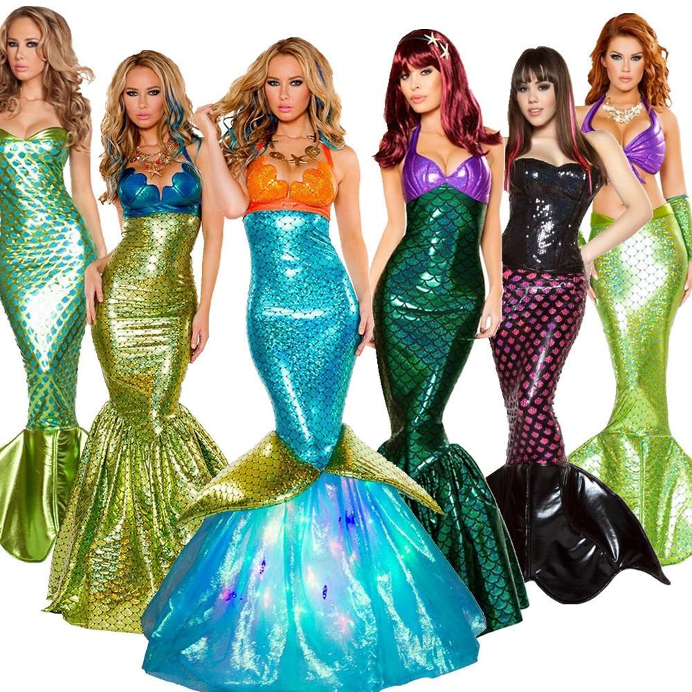 Женский костюм русалки с блестками, роскошное вечернее платье Ариэль с юбкой-годе для карнавала и Хэллоуина
