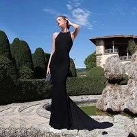 2022 elegant stertch satin high collar neckline mermaid formal dresses sexy illusion back black beaded sheath evening dresses
