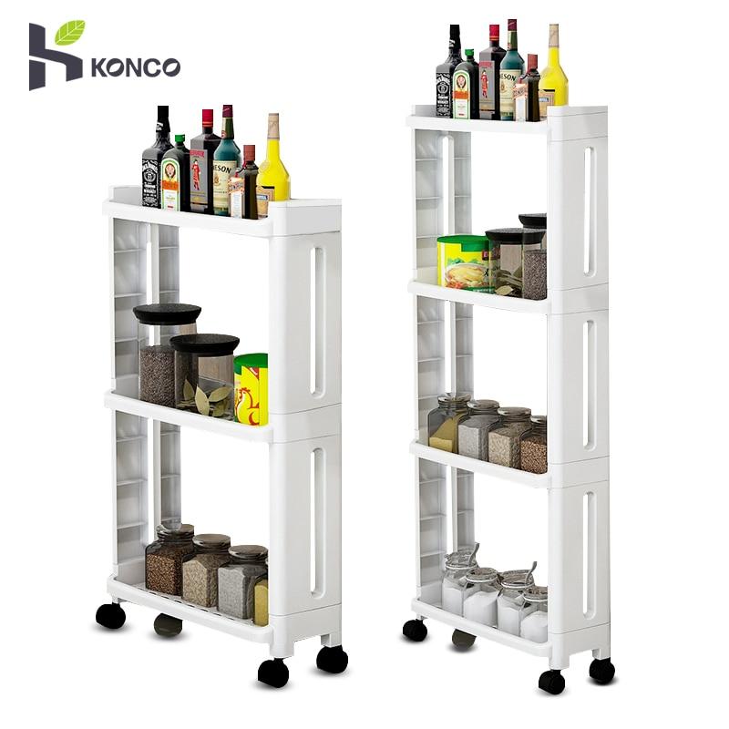 Konco Kitchen Storage Shelf Organiser For Goods Fridge Side Shelf 2/3/4 Layer Removable With Wheels