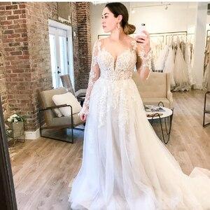 Boho Wedding Dress Long Sleeve Rustic Lace Appliques 2021 Sweetheart Floor Length Sweep Train Robe De Mariee Charming For Women