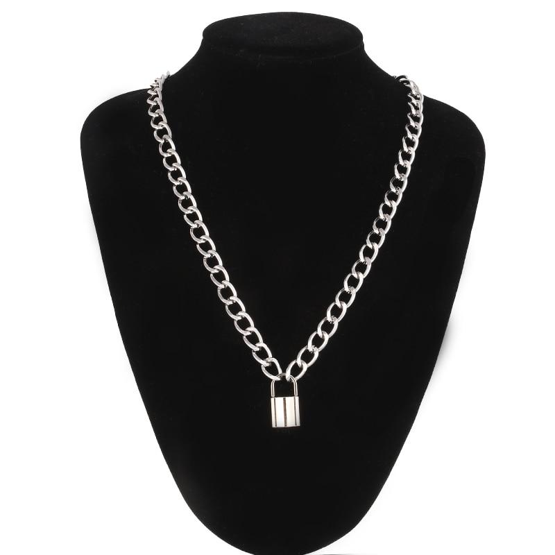 Collar de cadena de bloqueo de color plateado, collar con colgante de candado gótico para mujer, joyería de moda para festival de Brujas EMO gótico