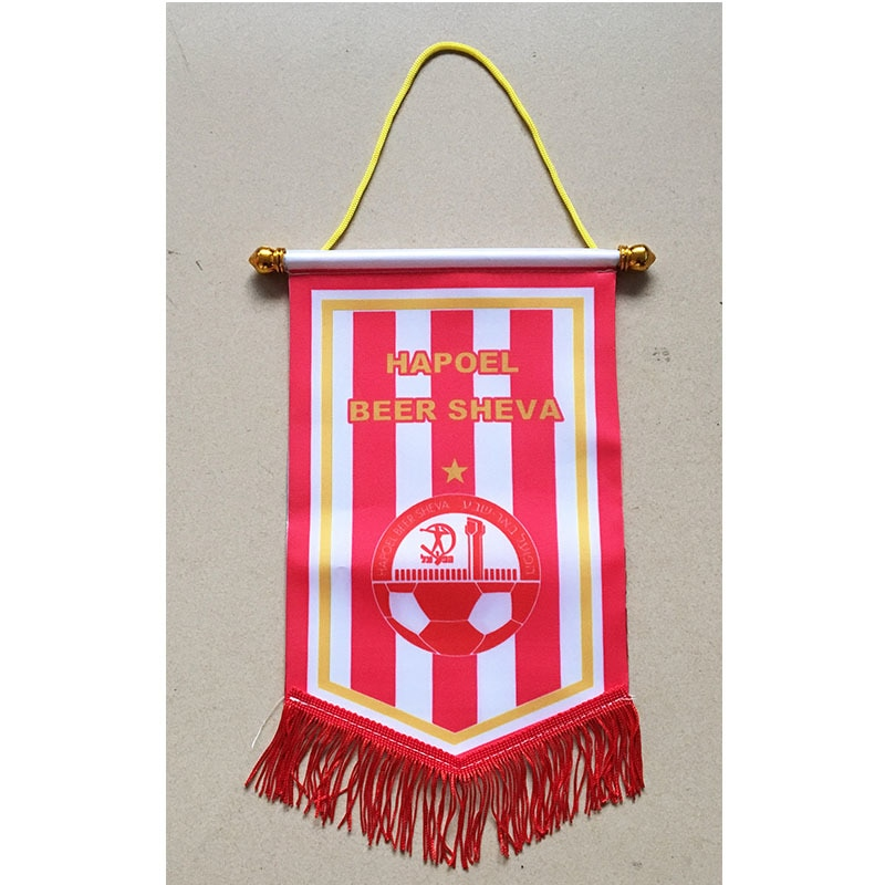 Israel Hapoel Beer Sheva FC 30cm*20cm Size Double Sides Christmas Decorations for Home Hanging Flag Banner Gifts