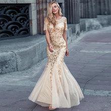 Grande taille arabie saoudite robes de bal 2020 Ever Pretty EZ07707 manches courtes dentelle Appliques Tulle sirène longue robe robes de soirée