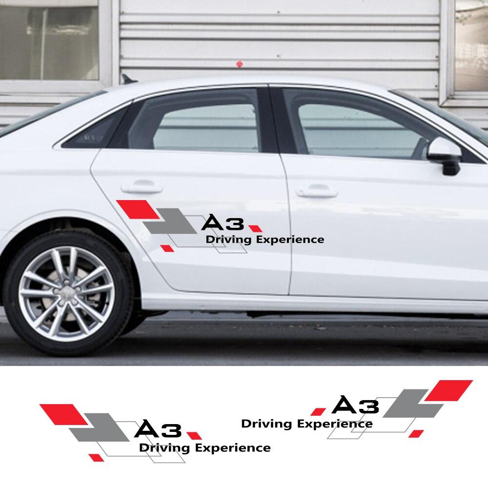 2PCS Car Sticker Door Side Decor Decal For Audi A4 B5 B6 B7 B8 A3 8P 8V 8L A5 A6 C6 C5 C7 4F A1 A7 A8 Q1 Q3 Q5 Q7 TT Accessories