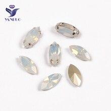 YANRUO 4200 Navette cheval yeux blanc opale coudre sur pierres verre diamants Strass couture Strass pierres pour vêtements