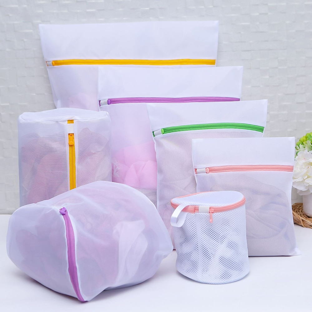 7pcs Zipped Laundry Wash Mesh Bag Clothing Care Foldable Protection Washing Net Filter for Lingerie Underwear Bra Socks Clothes s m l size washing laundry bag socks underwear washing machine clothesclothing care foldable net filter underwear bra protection