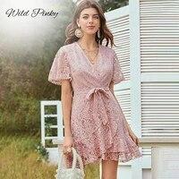 wildpinky elegant lace transparent women dress short sleeve floral pink dress high waist ruffle office lady summer dress vestido
