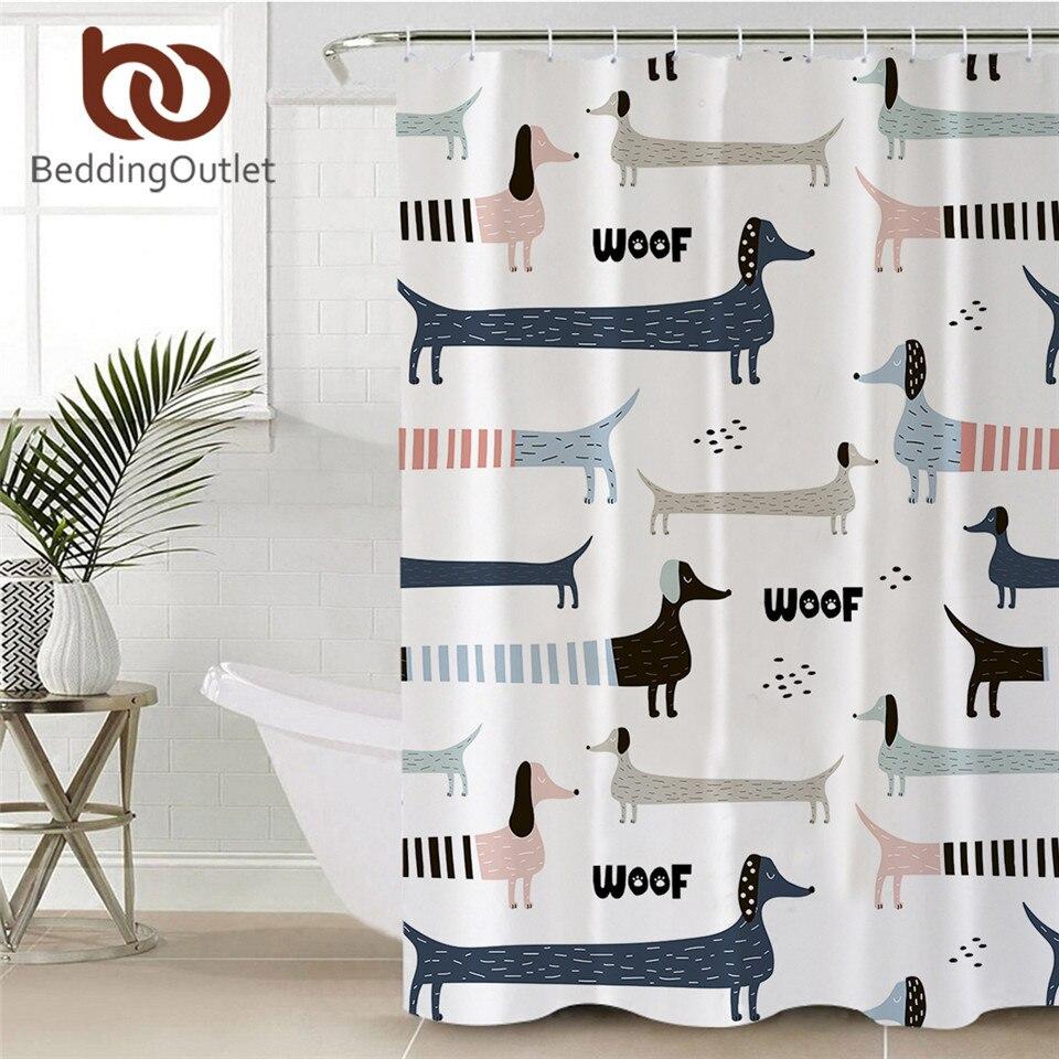 BeddingOutlet Dachshund Cortina de ducha perro de dibujos animados cortina impermeable con ganchos rayas geométricas niños cortina de baño