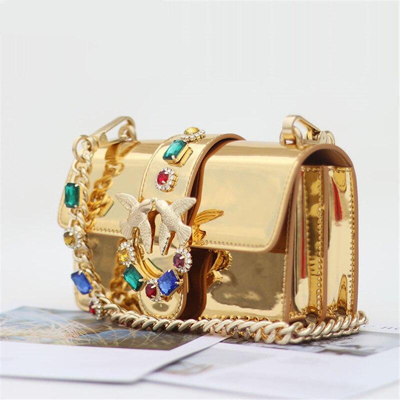 Gold Diamond Chain Strap Golden Glossy Genuine Leather Handbags Fancy Diamond Rivet Pearl Chain Shoulder Messenger Bag Louis Bag