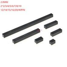 10 pces 2x2p/4p/6p/8p/10p/16p/20p/40p pino linha dupla fêmea reta encabeçamento 2.0mm passo tira conector soquete 8/10/16/20/40