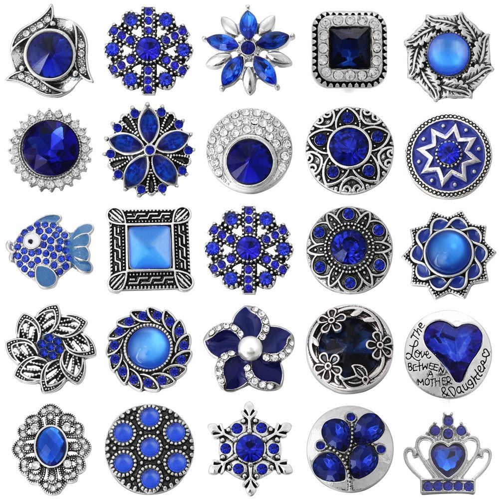 6 unids/lote broche de presión joyería azul oscuro broche de flores con estrás botones para 18mm pulseras a presión brazaletes joyería DIY