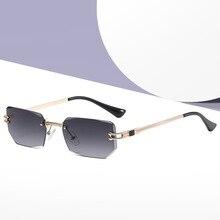 JackJad 2021 Fashion Unique Rimles Style Gradient Sunglasses Vintage Diamond Cutting ins Cool Brand