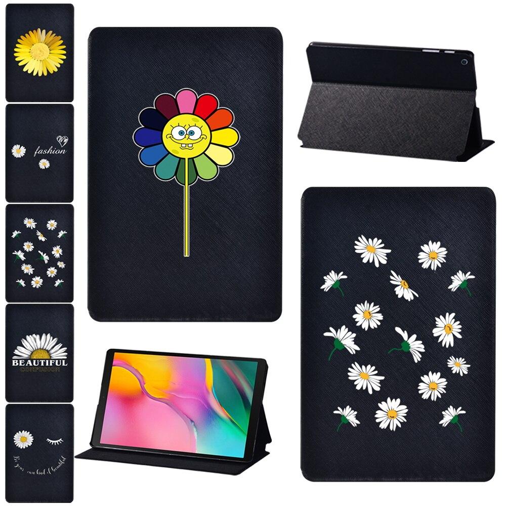 For Samsung Galaxy Tab A A6 10.1/Tab A 9.7/Tab A 10.1/Tab A 10.5/Tab S5e Daisy Print Pattern Series Tablet Folio Stand Case