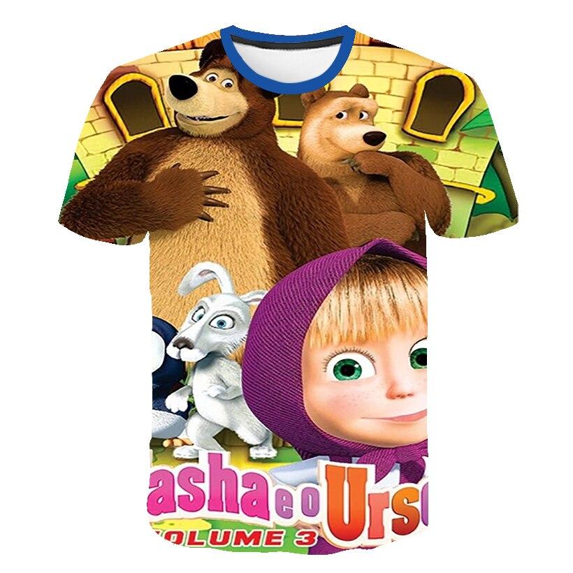 Nowa odzież dla dzieci Masha-Bear letnia koszulka oddychająca dla dzieci odzież dla dzieci chłopiec i z krótkim rękawem dla dziewczyny 3D fajne modne kreskówki