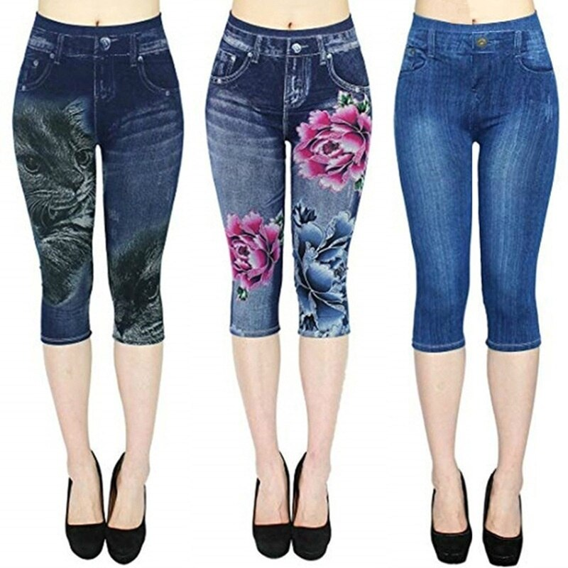 Summer Women Fashion Leggings High Waist Floral Printed 3/4 Jeggings Elastic Capri Plus Size S-3XL