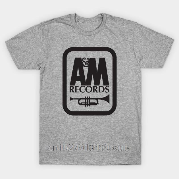 Men's T-shirt Cartoon Fun A&M RECORDS T-SHIRT Defunct Record Label Grey Version Fashion Mens Short sleeve T Shirt