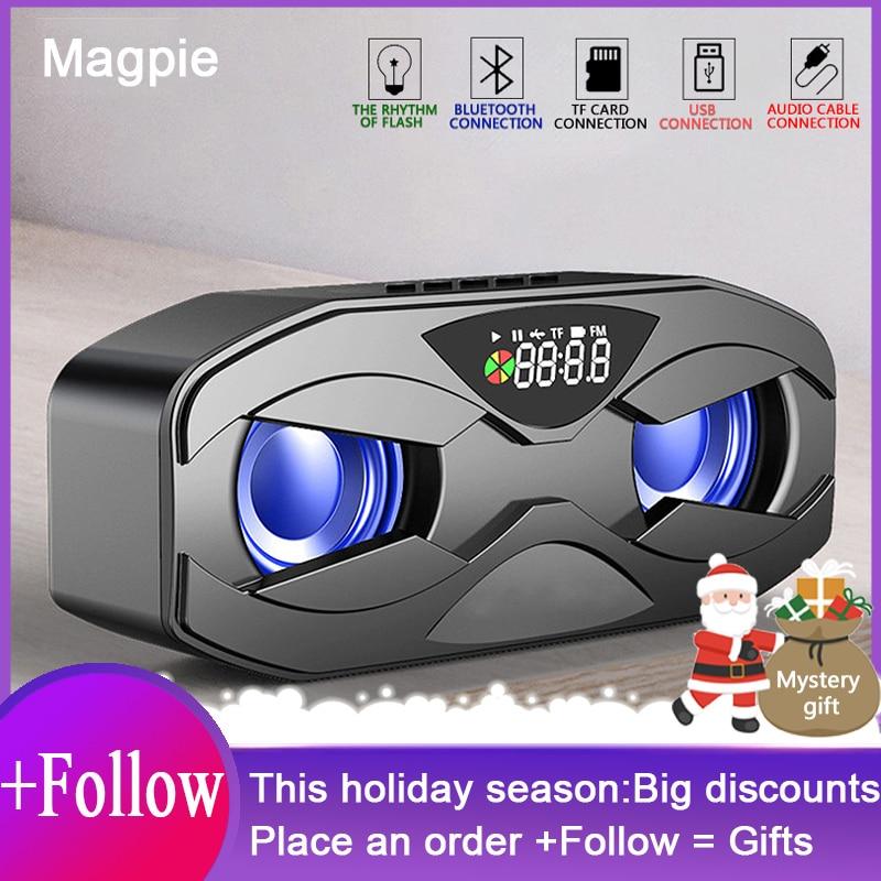 [해외] M8 멋진 로봇 디자인 블루투스 스피커 LED 리듬 플래시 무선 스피커, FM 라디오 알람 시계 TF 카드 지원 서브 우퍼 M5
