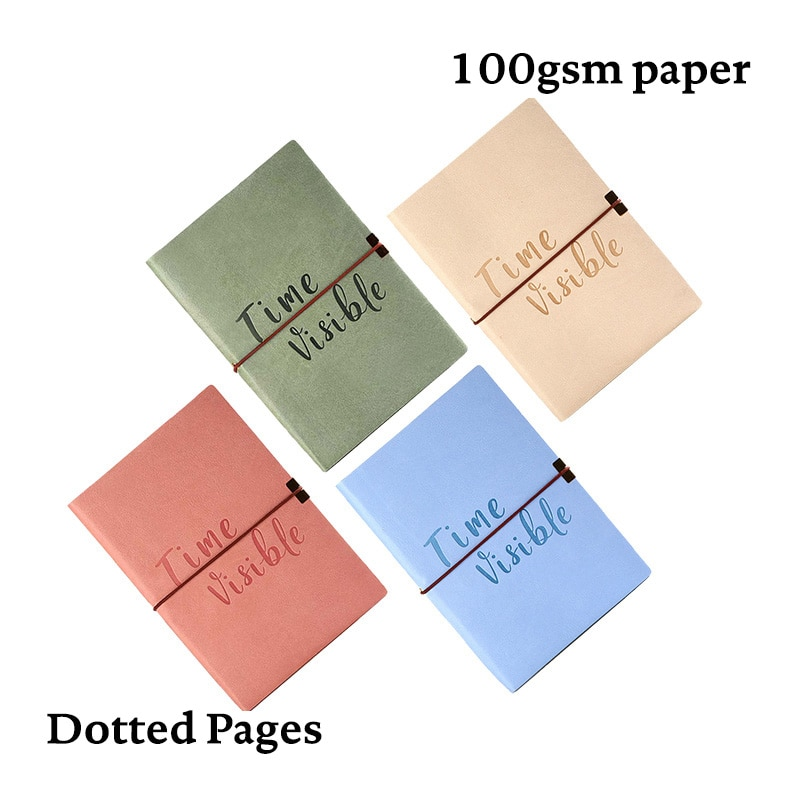 A5 Elastic Band Dotted NotebookDot Grid Journal Soft Cover Cute Simple Fashion Travel Diary Planner cute candy a5 dotted notebook