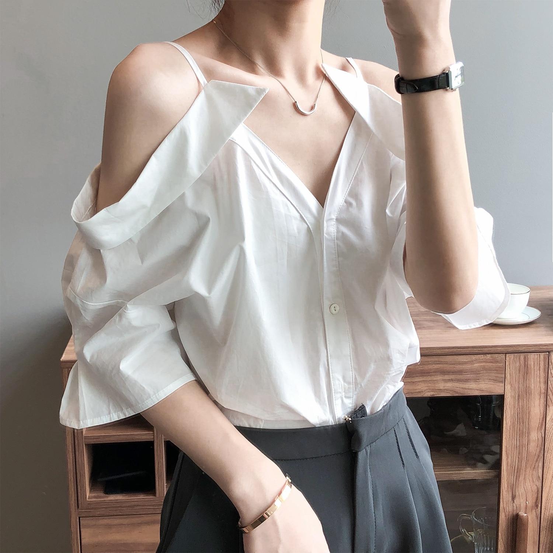 CMAZ Sexy Off Shoulder Summer Strapless Half Sleeve Blouse Women Tops V-neck Shirts Streetwear Casua