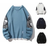 2021 spring and autumn sweater mens japanese trend round neck mens sweater fashion fake two piece round neck mens clothing