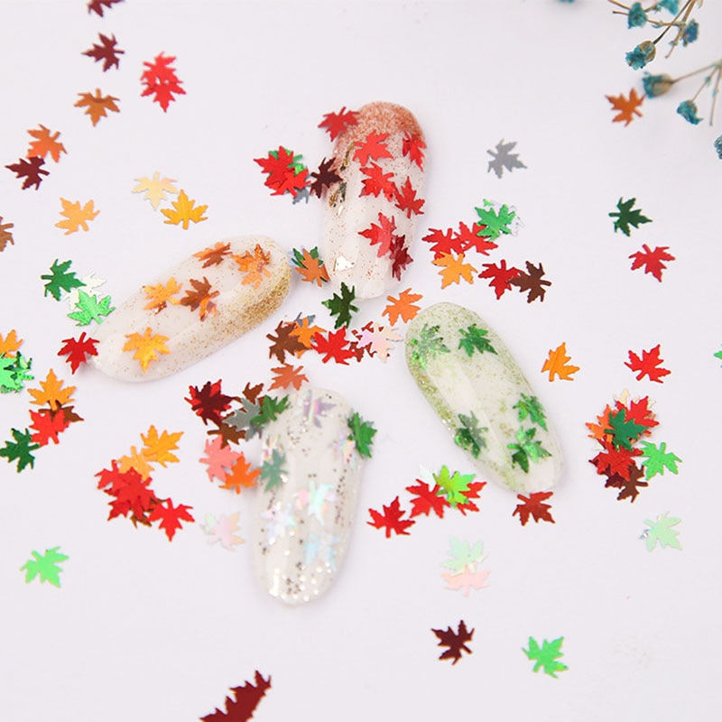 1pcs Nails Maple Leaf Sequins 4 Color Nail Sequins Nail Glitter Sequin Nail Art Decor Manicure Tips Nail Art Decorations New