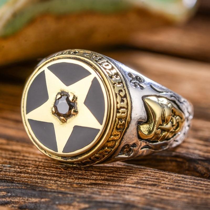 Plata de Ley 925 auténtica Retro pentagrama mosaico moda Thai anillo negro Ziron gracioso máscara de llanto ornamento viejo hombre antiguo hecho a mano