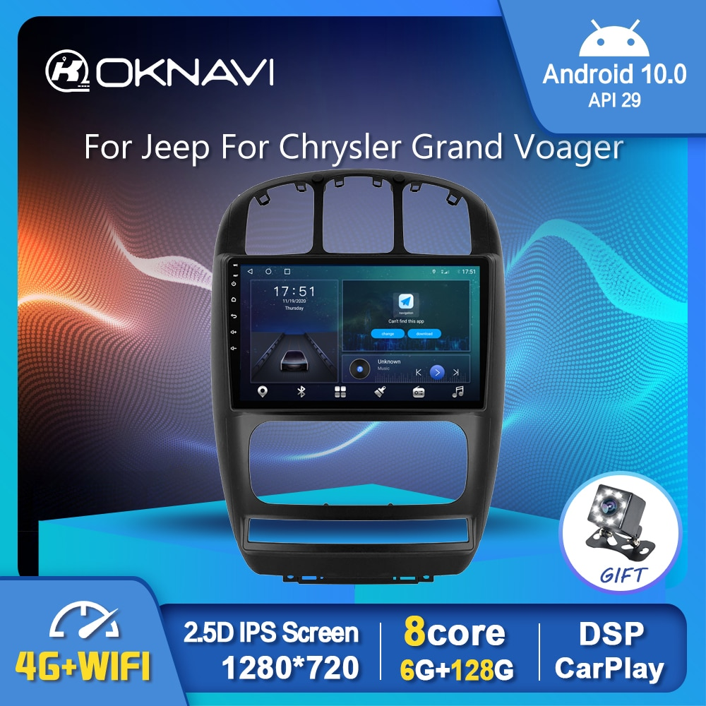 """10"""" Android 10 Car Radio Multimedia Video Player For Dodge Caravan 4 For Chrysler Grand Voyager RS 2000-2012 GPS Serero BT OBD2"""