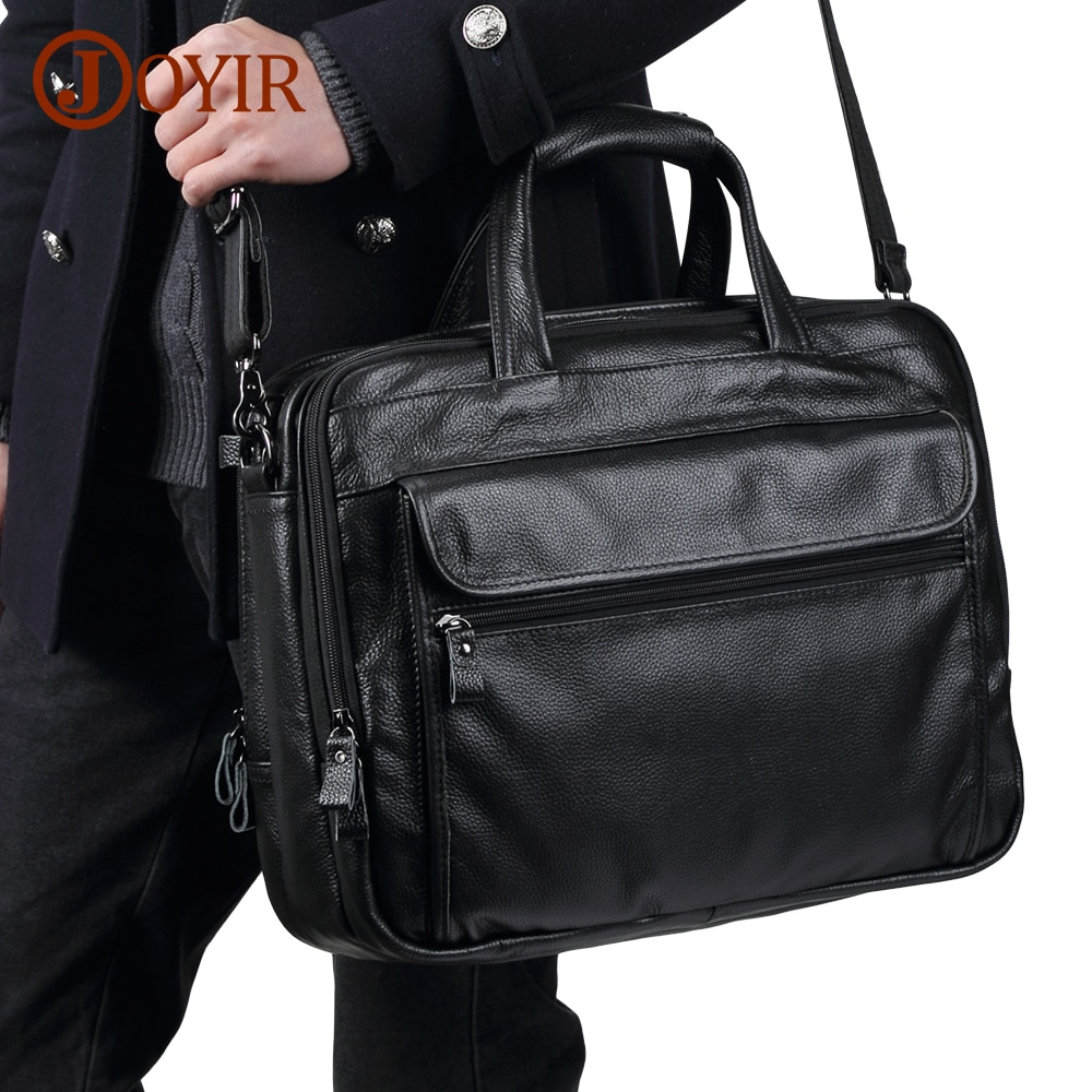 JOYIR الرجال حقائب جلدية حقيقية حقيبة يد 15.6