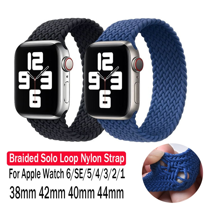 1 1 offical strap for apple watch series 6 5 se 4 braided solo loop 40mm 44mm woven watchbands for iwatch 3 2 1 38mm 42mm strap Bracelet For Apple Watch Band 6 SE 5 4 44mm 40mm For iWatch Series 3 2 1 38mm 42mm Elastic Braided Solo Loop Nylon Fabric Strap