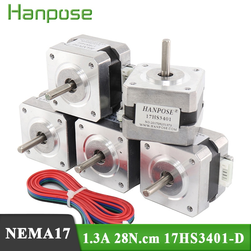 Los mejores precios 50 unids/lote 17HS3401-D 1.3A 28N.cm 4 Motor paso a paso Nema 17 motor 42BYGH para láser CNC e impresora 3D