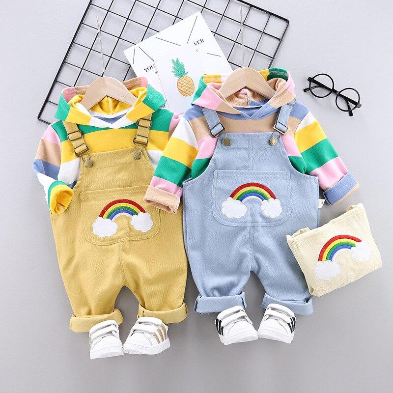 2020 otoño nueva ropa para niñas niños de rayas de manga larga con capucha camiseta denim monos de dos piezas