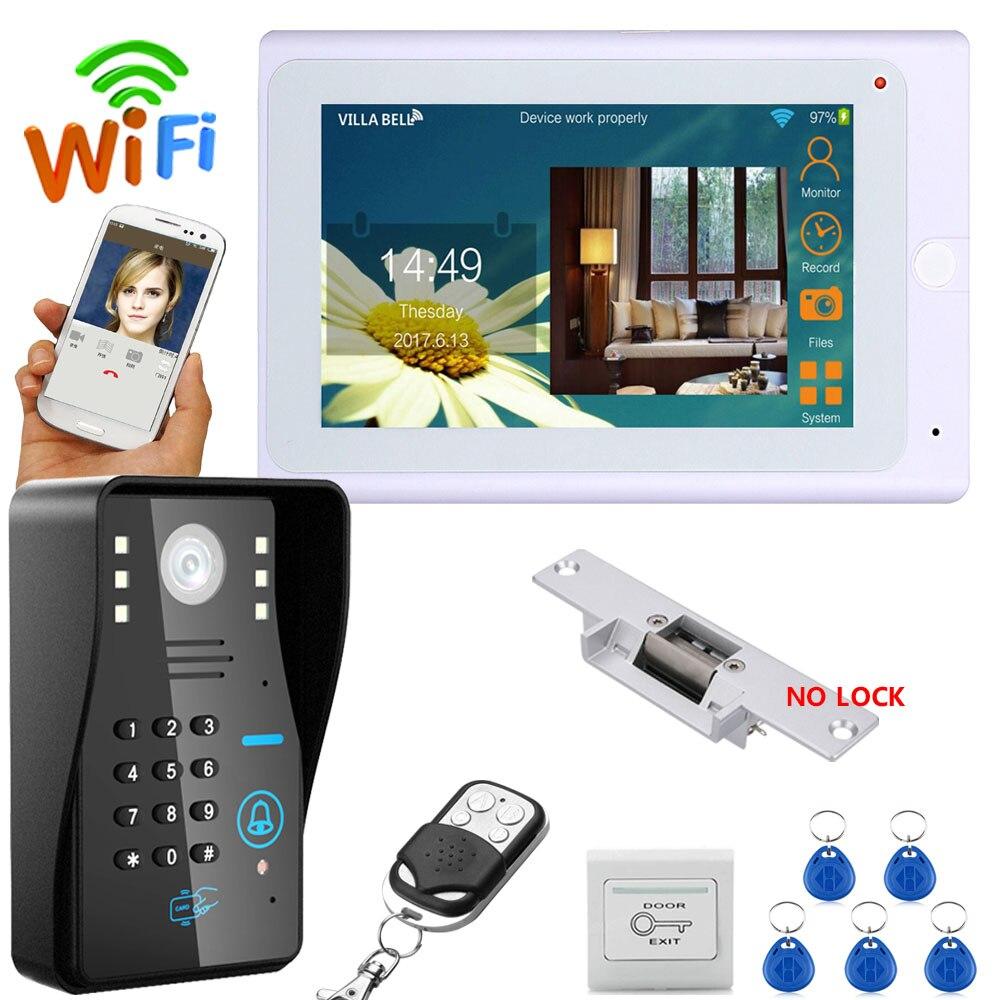 """7 """"TFT Wi-fi Sem Fio Senha RFID Telefone Video Da Porta Campainha Intercom Sistema com NENHUMA Greve Elétrica Lock + 1000TVL câmera"""