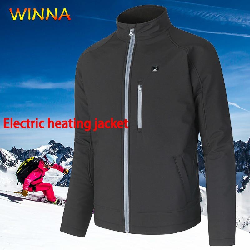 Mens Heated Windbreaker Jackets Taslon Waterproof Hooded Coat Autumn Winter Slim Fit Warm Electric Heating Outwear Use 6 Hours