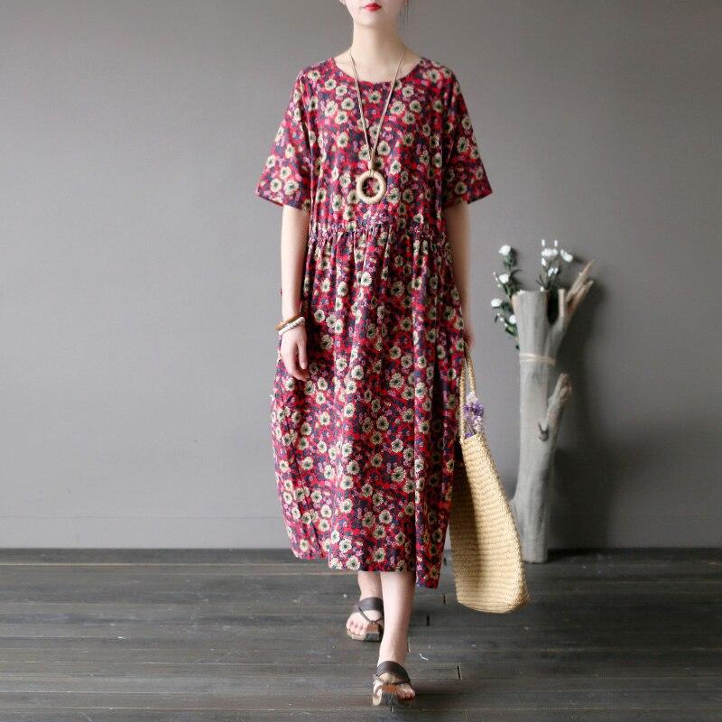 Literario y artístico retro algodón y cáñamo pequeño vestido de Flores rotas con cintura manga suelta larga
