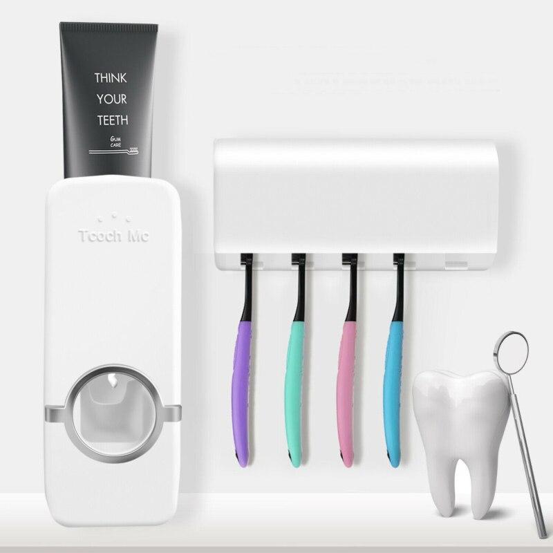 Soporte de cepillo de dientes esterilizador de pared dispensador automático de pasta de dientes exprimidor de Set de accesorios de baño de inodoro para el hogar TXTB1