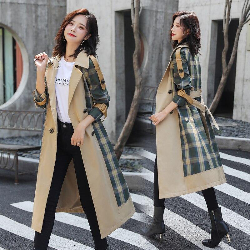 جديد 2021 سترة واقية للربيع والخريف النسخة الكورية فضفاضة كبيرة الحجم سترات معطف السيدات الموضة شعرية مشتركة طويلة باركاس المد
