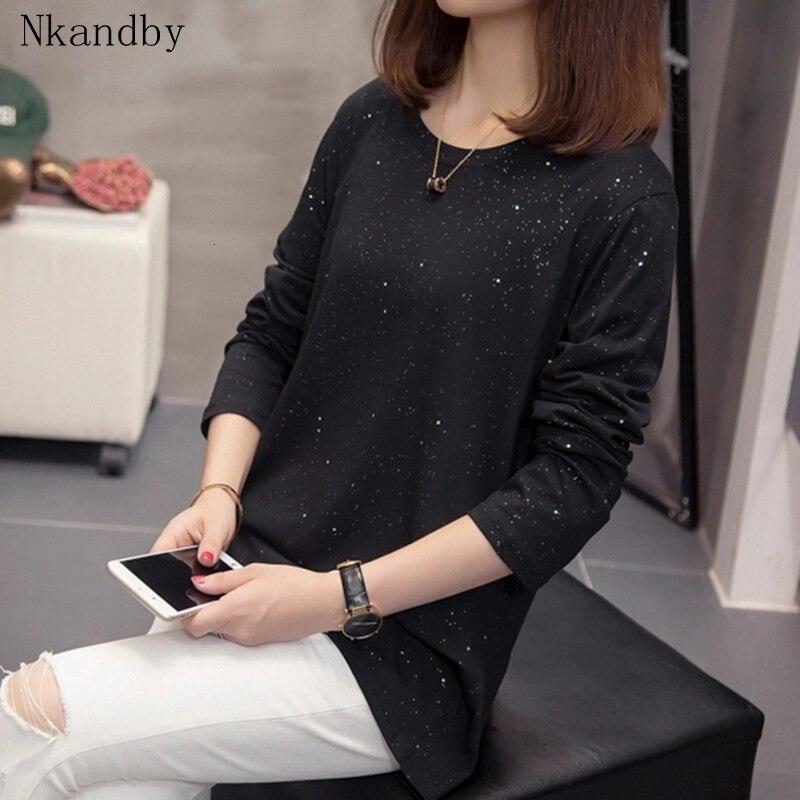 Plus Size Shining Tshirts Women 2019 Autumn Clothing Fashion Korean Loose T-Shirts Long Sleeve Tops Oversized Ladies T Shirt